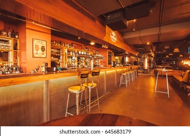BANGALORE, INDIA - FEB 14: Club and bar of the Arbor Brewing Company waiting for customers at evening on February 14, 2017. With population 8.52 million, Bangalore is third most populous indian city