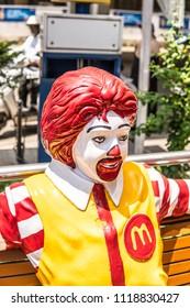 Bangalore, India, June 03, 2018, Bengaluru city, Ronald McDonald bench, greetings to all restaurant customers, mascot for children, symbol of McDonald restaurant