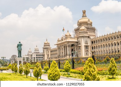 Bangalore, India, June 03, 2018, Bengaluru city, Vidhana Soudha - Government of Karnataka, in style described as Mysore Neo-Dravidian, and incorporates elements of Indo-Saracenic and Dravidian styles