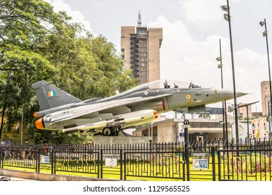 Bangalore, India, June 03, 2018, Bengaluru city, HAL Tejas multirole light fighter designed by Aeronautical Development Agency (ADA) and Hindustan Aeronautics Limited (HAL) for Indian Air, Navy Force