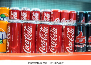 Bangalore, India, June 8, 2018, CocaCola cans on the shop display, Coca-Cola, or Coke is carbonated soft drink.  The drink's name refers to two of its original ingredients: coca leaves, and kola nuts