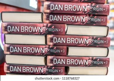 Bangalore, India, June 8, 2018, Dan Brown's latest novel 'Origin' on display shelf at Bengaluru Bookstore, the fifth instalment in his Robert Langdon mysteries thriller series