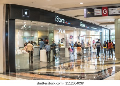 Bangalore, India, May 20, 2018, Apple iStore entrance store in Bengaluru Phoenix Marketcity mall, Huge mall featuring range of international brand-name stores,  Hindus Indians doing shopping
