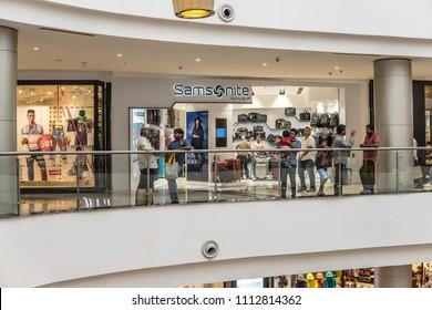 Bangalore, India, May 20, 2018, Samsonite entrance store in Bengaluru Phoenix Marketcity mall, Huge mall featuring range of international brand-name stores,  Hindus Indians doing shopping