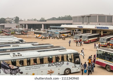 Bangalore, India, May 26, 2018, Majestic Bus Station in Bengaluru, old Indian buses, traveling Indians Hindus