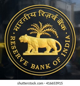 BANGALORE, INDIA - MAY 7, 2016: Logo of Reserve Bank of India. The Reserve Bank of India is India's central banking institution, which controls the monetary policy of the Indian rupee.