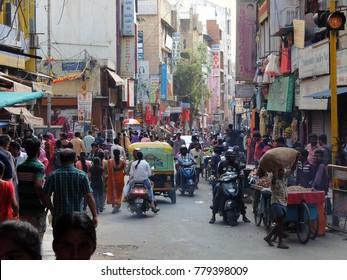 Bangalore, India - November, 19th, 2017. Crowded market street in Bangalore.