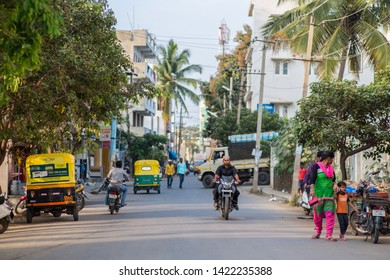 Bangalore / India - October 27 2015: A smaller calm street in downtown Bangalore on a late afternoon