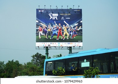 BANGALORE, KARNATAKA, INDIA, APRIL 22, 2018: Advertisement of the Indian Premier League (IPL), a professional Twenty20 cricket league on the highway in Bangalore. Flex board.