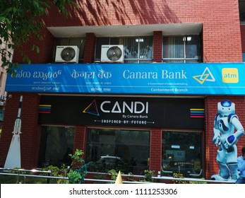 BANGALORE, KARNATAKA, INDIA, APRIL 23, 2018:  Blue banner of Canara bank on the MG Road, Bengaluru, on a sunny day.