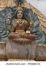 Bangalore, Karnataka, India - Jan 1, 2009 Statue of goddess Aishwarya Lakshmi,  incarnation of Lakshmi as Goddess of riches at Vishwa Shanti Ashram, Nelamangala