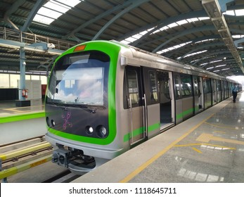 Bangalore, Karnataka / India - June 23 2018: Green Metro Train travel from Yelachenahalli to Nagasandra station