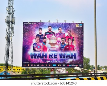 BANGALORE, KARNATAKA, INDIA, MAY 03, 2017: Hoardings in India. Advertisement of IPL (Indian Premier League) cricket team by the roadside.