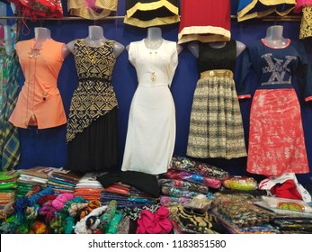 Bangalore, Karnataka / India - May 06 2018: Indian traditional dress Salwar kameez suits in the market. Ladies Chudidar for sale in exhibition and store.
