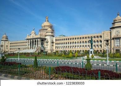 BANGALORE, KARNATAKA, INDIA - OCTOBER 20, 2018: The Vidhana Soudha building in Bangalore (Bengaluru) which is the is the seat of the state legislature of Karnataka in India.