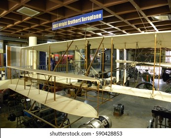 Bangalore, Karnataka, India - Sep 5, 2009 Replica of 1903 Wright Brothers' Aeroplane, model depicts Orville Wright at pilot's cradle, Wilbur Wright at Visvesvaraya Industrial and Technological Museum