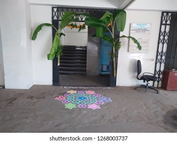 Bangalore, Karnataka/India-October 17 2018: Beautiful view of entrance of the office with decoration of banana plant in front rangoli design to welcome peoples during dasara