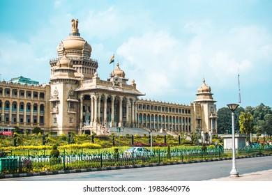 Bangalore - October 8th 2019 : The Vidhana Soudha in Bangalore, India, is the seat of the bicameral state legislature of Karnataka.