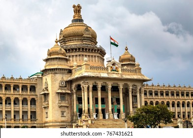 TheVidhana Soudhalocated inBengaluru (Bangalore), is the seat of the statelegislatureofKarnataka, India
