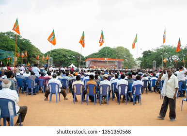Bangalore/Karnataka/India:09 April 2015 :BJP supporters and public crowd during Prime Minister Narendra Modi's visit for a BJP public meeting, in Bangalore India.