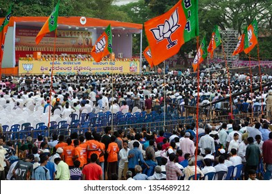 Bangalore/Karnataka/India:09 April 2015 :BJP supporters and public crowd during Prime Minister Narendra Modi's visit for a BJP public meeting.