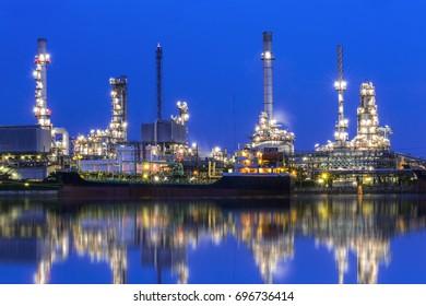 Bangchak Oil Refinery, a view of oil refinery along Chao Phraya river at sunset, Bangkok, Thailand.