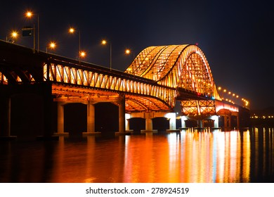 Banghwa bridge at night in Seoul,Korea