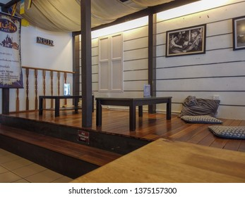 Bangi, Malaysia - April 12, 2019: Traditional Malay interior design at Nu-In Cafe in Bangi. Nu-In Cafe serves various and delicious Malay traditional cuisine.