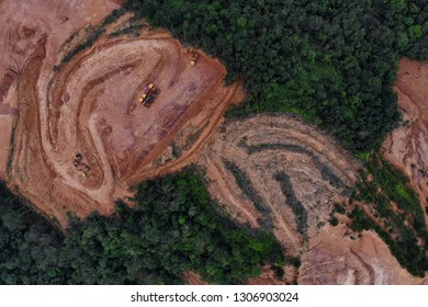 BANGI, MALAYSIA - FEBRUARY 06, 2019. An aerial view of deforestation in outskirts of Bangi, Selangor.