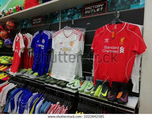ccc1b5ba2 Bangi, Malaysia - February 12, 2018 : English Premier League football club  jerseys like
