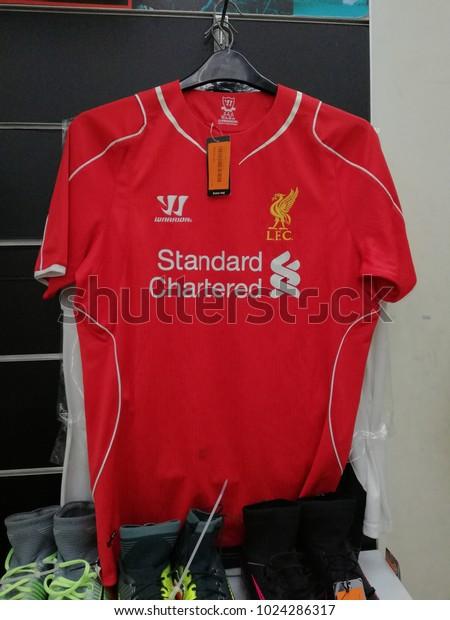 5234d45ba Bangi, Malaysia - February 12, 2018 : Liverpool Football Club jersey for  English Premier