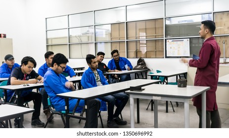 BANGI,MALAYSIA-FEBRUARY 14,2019: Unidentified Instructor is giving lectures in class near Bangi,Malaysia.