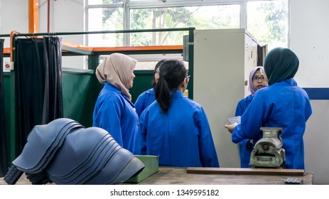 BANGI,MALAYSIA-FEBRUARY 14,2019: The unidentified trainees are in a metal workshop doing for their assignment