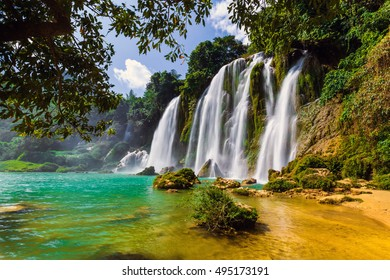 Bangioc waterfall in Caobang, Vietnam - The waterfalls are located in an area of mature karst formations were the original limestone bedrock layers are being eroded.