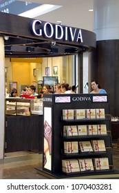 BANGKAEW, BANGPLI, SAMUTPRAKAN, THAILAND, APRIL 07, 2018: View of GODIVA shop area. GODIVA Chocolatier is a Belgian manufacturer of premium fine chocolates and related products.