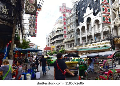 Bangkok, Thailand - September 02, 2018: Traffic on Yaowarat road. Chinatown with notable Chinese buildings, restaurants and decoration.