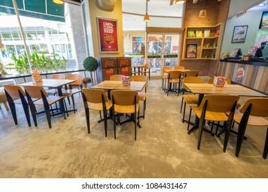 Bangkok, 05 may 2018: Interior of Burger King fast food restaurant in Bangkok, Thailand