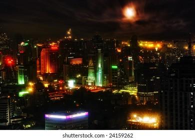 BANGKOK - 20 APRIL: Night illumination of Bangkok, the capital of the Kingdom of Thailand on 20 April 2005.