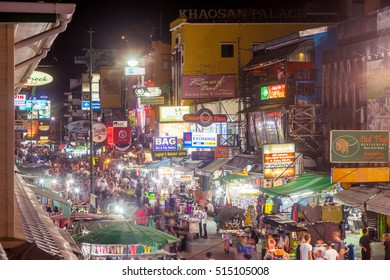 BANGKOK - 20 Oct 2016: Jewelry shops, bars, and tourist shops line Khao San Road on October 20, 2016 in Bangkok