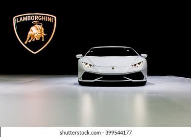 """Bangkok , 22 March 2016 , Lamborghini white color,Thailand The 37th Bangkok International Motor Show 2016"""" at Impact Arena, MaungThong Thanee, Bangkok on 23 March -3 April 2016"""