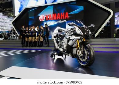 """Bangkok , 22 March 2016 ,Yamaha Boot show ,Thailand The 37th Bangkok International Motor Show 2016"""" at Impact Arena, MaungThong Thanee, Bangkok on 23 March -3 April 2016"""