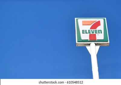Bangkok : 28 March 2017 : 7-Eleven sign high up in sky for customer can see from long distance, 7-Eleven is the world's largest convenient store  franchise with more than 50,000 outlets.