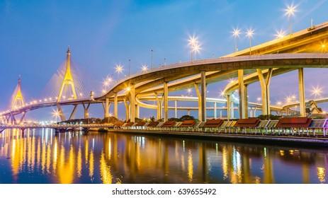 Bangkok, 29/01/2017: Bhumibol bridge (Industrial Ring Road Bridge) at twilight