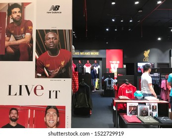 BANGKOK - 29/9/2019 : unidentifable customers are shopping in Liverpool FC official store, Bangkok, 2nd branch in Thailand at Central Plaza Grand Rama 9 on 29/9/2019.