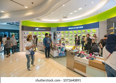 BANGKOK- APR 22 : Shoes shop zone in King Power Duty free at Water Gate on Apr, 22, 2017 in Bangkok, Thailand..