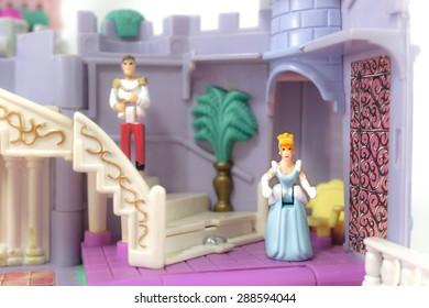 BANGKOK - APR 25, 2015 : Photo of 1995 Bluebird Polly Pocket Mini Figures Disney Cinderella Enchanted Castle (1955 Bluebird Toys/Mattel Tiny Collection). Rare collectible. Selective Focus.