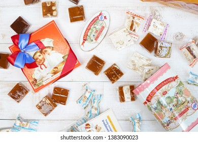Bangkok - Apr 27, 2019: A photo of confectionery with vintage tin box and box with colorful ribbon for present.Sweet treats produced by La Cure Gourmande, a french biscuitier & sucrecuitier since 1989