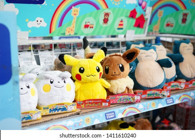 Bangkok - Apr 27, 2019: A photo of Pikachu, Eevee and other Pokemon soft plushies on display. Pokemon dolls are product of Takara Tomy, one of most famous Japanese toy companies.