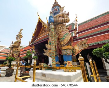 BANGKOK - APRIL 28: Wat Phra Kaew facade on April 28, 2017 in Bangkok, Thailand. Wat Phra Kaew is regarded as the most sacred Buddhist temple (wat) in Thailand.