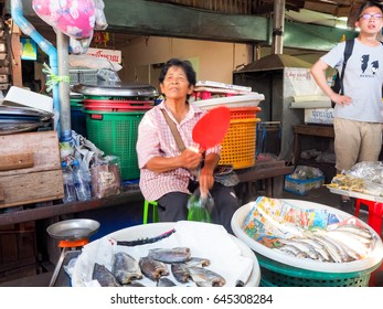 BANGKOK - APRIL 30 : Colorful street shop at Railway market in Maeklong market on April 30, 2017 in Bangkok,Thailand.Maeklong Railway Market is one of the largest fresh seafood markets in Thailand.
